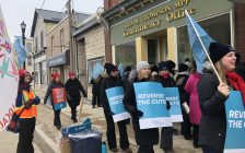 Striking teachers picket the Blyth office of MPP Lisa Thompson. Photo by Fiona Robertson.