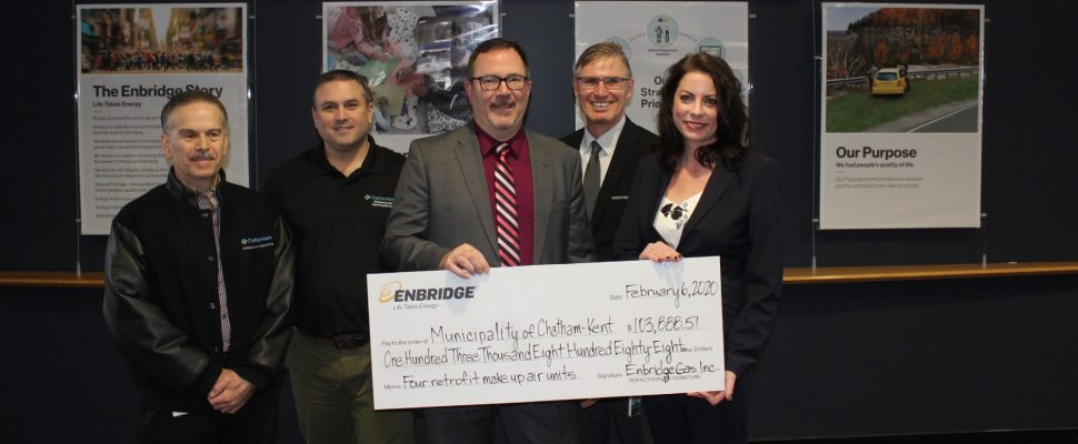 From left: Chatham-Kent's Director of Drainage, Waste and Asset Management Tim Dick, CK's Manager of Housing Assets, South Alain Sasseville, CK Mayor Darrin Canniff, Energy Efficiency Solutions at Enbridge Gas Mark Glasier, and Advisor for Energy Solutions at Enbridge Gas Bryana Smith. (Photo by Matt Weverink)