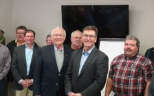 Ontario Minister of Agriculture Ernie Hardeman (front left) and Bruce Grey Owen Sound MPP Bill Walker with Farmers in Chesley