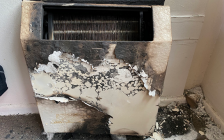 A heater damaged by fire at a Kipps Lane apartment, February 20, 2020. Photo courtesy of the London Fire Department.