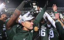 Former Michigan State University head coach Mark Dantonio, 2015. Photo courtesy Smithsonian92/Wikipedia.