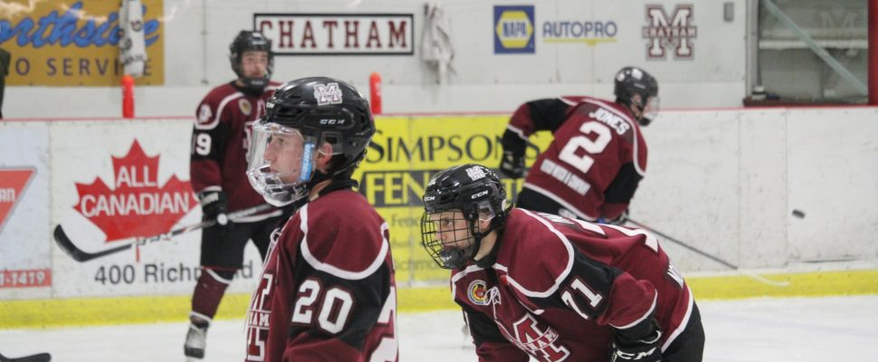 Maroons forwards Brett Fisher (20) and Dallas Maurovic (71) warm up ahead of a home game. February 23, 2020. (Photo by Matt Weverink)