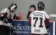 Chatham Maroons forwards Cam Symons (16) and Dallas Maurovic (71) warm up ahead of a game against the St. Thomas Stars. January 31, 2020. (Photo by Matt Weverink)