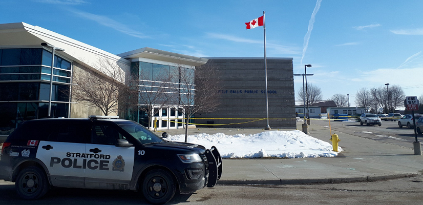 Stratford police investigate stabbing outside of Little Falls Public School in St. Marys, February 12, 2020. Photo courtesy of Stratford police.