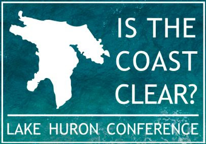 """Logo of the """"Is the Coast Clear?"""" Lake Huron Confence featuring a silhouette of Lake Huron on a turquoise back ground with the title of the conference to the right. Image courtesy of the Lake Huron Centre for Coastal Conservation."""