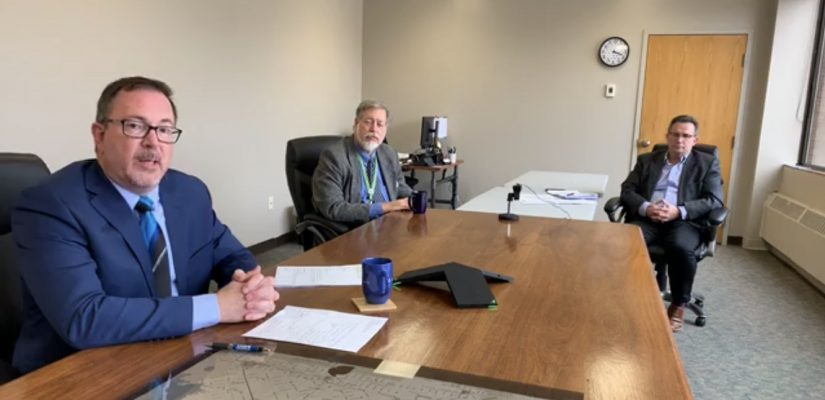 Mayor Darrin Canniff, Dr. David Colby and CAO Don Shropshire during a Facebook live stream on March 24, 2020 (Screengrab via Municipality of Chatham-Kent Facebook)