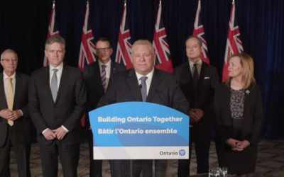 Ontario Premier Doug Ford makes an announcement at Queen's Park in Toronto. March 16, 2020. (Capture from video posted to the Premier of Ontario's YouTube page)
