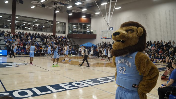 The Lambton Lions men's basketball team takes on the George Brown Huskies at the OCAA Men's Basketball Championships from Lambton College. 6 March 2020. (BlackburnNews.com photo by Colin Gowdy)