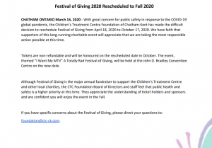 A message from the Children's Treatment Centre Foundation regarding the 2020 Festival of Giving event. 15 March 2020.