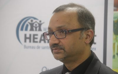 Dr. Wajid Ahmed, medical officer of health for the Windsor-Essex County Health Unit, speaks with reporters on March 12, 2020. Photo by Mark Brown/Blackburn News.