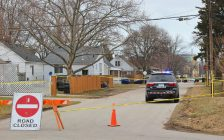 A section of Palmerston Street N. in Sarnia cordoned off for suspected homicide investigation Mar. 14, 2020 (BlackburnNews.com photo by Dave Dentinger)