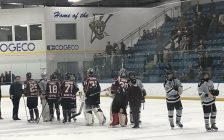 The Chatham Maroons shake hands with the LaSalle Vipers after Game 7 defeat, March 8, 2020. Photo By: Matt Weverink, Blackburn News.