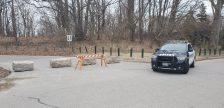 Armour stone placed at Canatara Park by city to restrict access to foot traffic only Mar. 31.2020. (Photo courtesy of Sarnia Police)