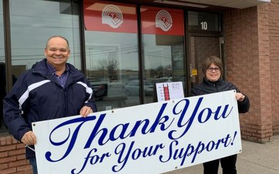 United Way Executive Director Dave Brown and 2019 Campaign Chair Vicky Ducharme. 2 January 2020. (Photo by United Way)