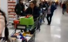 The lineup at Superstore on Dougall Avenue in Windsor, March 12 2020. (Photo taken from video used with permission from Leo Lucier)