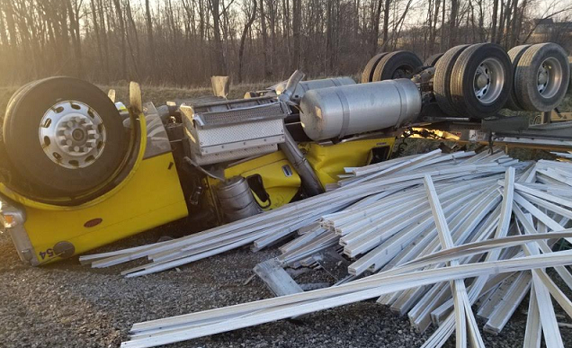 A transport truck rollover on Highway 401 near Colonel Talbot Road, March 25, 2020. Photo courtesy of OPP.