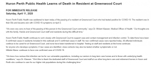 Huron Perth Public Health Learns of Death in Resident at Greenwood Court. April 11, 2020.