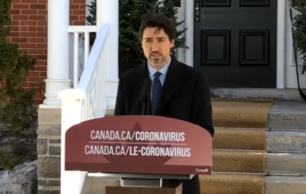 Prime Minister Justin Trudeau during his daily news conference April 6, 2020. (via Facebook)