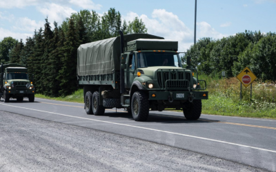 Military personnel will make their way to CFB Borden on April 6, 2020. (Photo via Canadian Armed Forces).