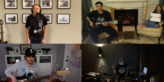 Adrian Owen, Conor Wild, Hooman Ganjavi, and Tim Bussey perform 'Stay At Home', their rewrite of the Rolling Stones 'Start Me Up'. Screen capture from YouTube.