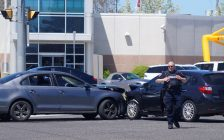 A two-vehicle collision at Barclay Drive and Exmouth Street in Sarnia. 21 May 2020. (BlackburnNews.com photo by Colin Gowdy)