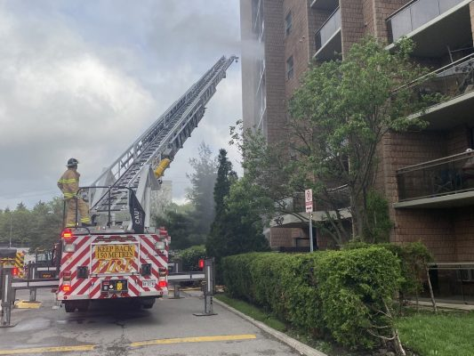 Firefighters respond to an apartment fire on Highland Avenue in London, May 29, 2020. (Photo courtesy of the London Fire Department)