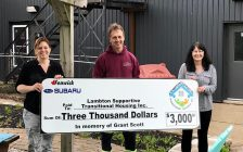 Fenwick Subaru presenting Lambton Supportive Transitional Housing Inc. with a cheque for $3,000. May 2020. (Submitted photo)