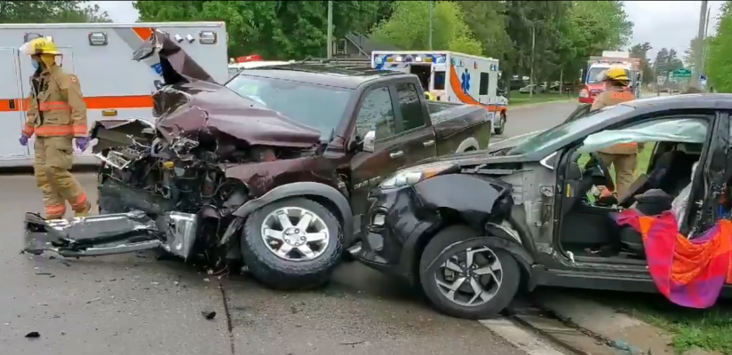 Emergency crews respond to a three-vehicle crash on Highway 59 in Courtland, May 29, 2020. (Photo courtesy of the OPP via Twitter)