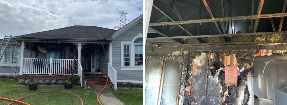 The scene after a fire at a home on Queen Street in Tilbury. May 21, 2020. (Photo courtesy of Chatham-Kent Fire and Emergency Services)