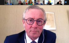 Sarnia-Lambton Chamber of Commerce CEO Allan Calvert takes part in a Zoom meeting welcoming him to the role. 8 June 2020. (Screenshot of the Zoom meeting)