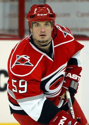 Chad LaRose of the Carolina Hurricanes skates during warmups before a game against the Buffalo Sabres. April 9, 2009. (Photo by Jamie Kellner from Wikipedia)