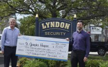 Lyndon Security President Ernie Hehn (left) and Managing Partner David Hehn (right) with a $10,000 cheque for St. Joseph's Hospice. 3 June 2020. (BlackburnNews.com photo by Colin Gowdy)
