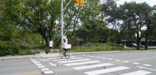 A pedestrian and cyclist crossing on Exmouth Street at the Howard Watson Nature Trail. 3 June 2020. (BlackburnNews.com photo by Colin Gowdy)