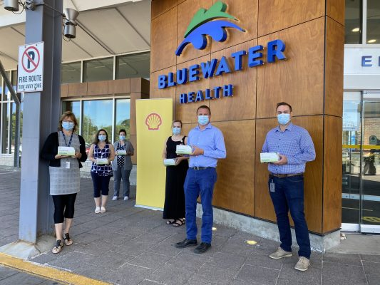 Workers from Shell's Sarnia Manufacturing Centre donating medical face masks to Bluewater Health. June 2020. (Submitted photos)