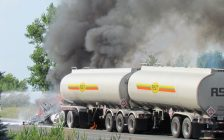 Firefighters work to contain a fuel tanker fire following a collision in the area of Grande River Line and Jacob Road, July 7, 2020. (Photo courtesy of Mary Johnston)