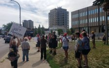 Anti-mask protest at Sarnia City Hall July 30, 2020 (Submitted photo)