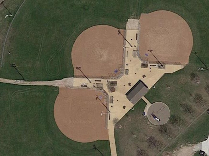 Aerial view of ball diamonds at St. Clair College Thames Campus