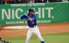 Bo Bichette at bat. 25 March 2019. (Photo by D. Benjamin Miller from Wikipedia)