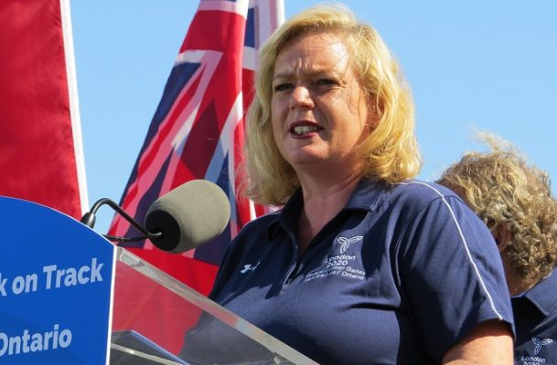 Lisa MacLeod, Ontario's minister of heritage, sport, tourism, and culture at the North London Athletic Fields on Adelaide Street North, July 31, 2020. (Photo by Miranda Chant, Blackburn News)