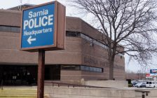 Sarnia Police Headquarters on Christina Street. 23 January 2020. (BlackburnNews.com photo by Colin Gowdy)