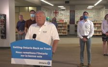 Ontario Premier Doug Ford details back to school plans at a Catholic secondary school in Whitby, July 29, 2020. Image from Premier of Ontario/YouTube.