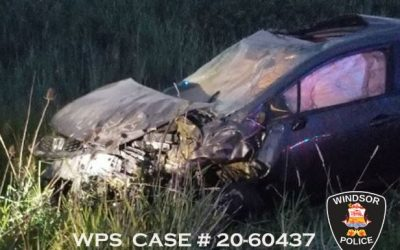 Photo of a crash on the E.C. Row Expressway on July 6, 2020 courtesy of the Windsor Police Service.