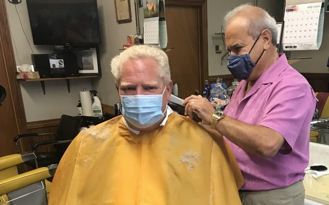 Premier Doug Ford gets a hair cut at Mastronardi Barbering on July 16, 2020. (Photo courtesy of Christine Wood)
