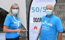 Mary Lou Crowley, President & CEO, Chatham-Kent Health Alliance Foundation & Gilles Michaud, Maple City Homes at the Chatham-Kent Health Alliance Foundation's Igniting Healthcare 50/50 draw August 26, 2020. (Submitted photo)
