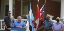 (From left to right) Monte McNaughton, Bill Weber, Randy Pettapiece and Bob Bailey at a provincial announcement in Watford. 14 August 2020. (BlackburnNews.com photo by Colin Gowdy)