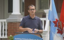 Monte McNaughton, the MPP for Lambton-Kent-Middlesex and the Minister of Labour, Training and Skills Development, makes an announcement in Watford. 14 August 2020. (BlackburnNews.com photo by Colin Gowdy)