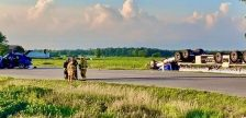 Emergency crews respond to a two vehicle crash at the intersection of Perth Road 140 and Perth Line 91 in the Township of Wallace, August 10, 2020. (Photo courtesy of the OPP via Twitter)