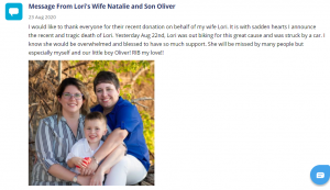 A message From Lori Neville's wife Natalie and son Oliver posted to Lori's Great Cycle Challenge Canada page. 23 August 2020.