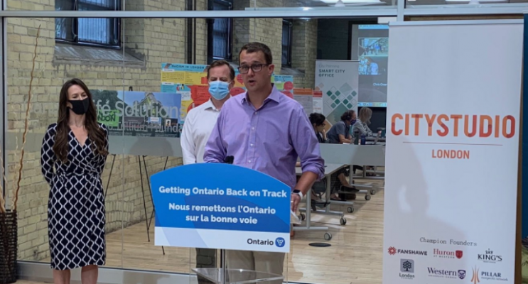 Monte McNaughton, Ontario's minister of labour, training and skills development, announces $1.49M for job training in London-area, August 19, 2020. Photo from @MonteMcNaughton on Twitter.