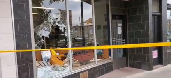 Damage to a business on Robinson Street in Simcoe. Photo courtesy of Norfolk OPP.